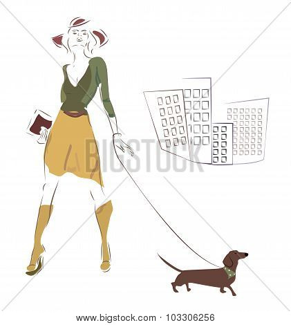 Woman and her Dachshund Dog