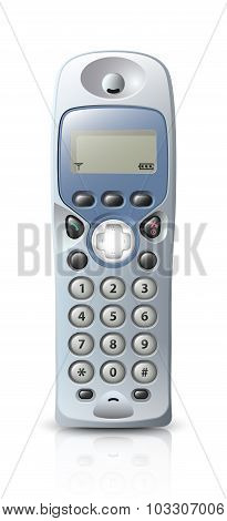 Modern wireless telephone. Vector illustration on white background poster