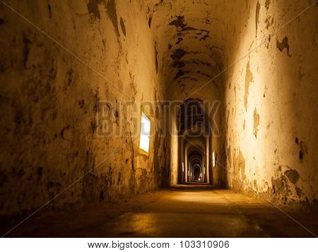 Old abandoned tunnel in fortress