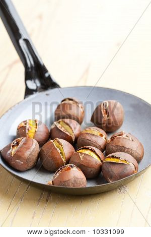 Roasted Chestnuts On Pan