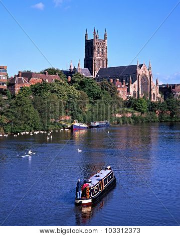 Worcester Cathedral and River Severn.