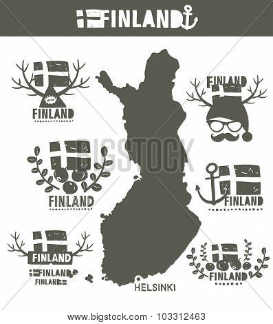 Creative geographic map of Finland - Scandinavian country.