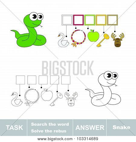 Vector game. Find hidden word snake. Search the word.