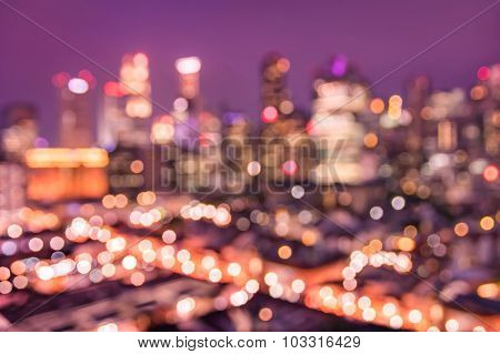 Bokeh Filter Of Singapore Skyline From Above During The Blue Hour - Asian Modern Urban Background