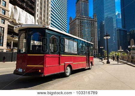 Chicago Tram at downtown area, Illinois, USA