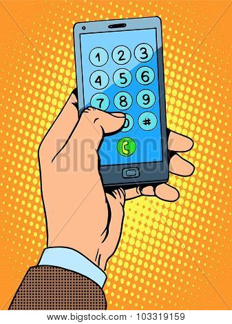 Hand smartphone phone number