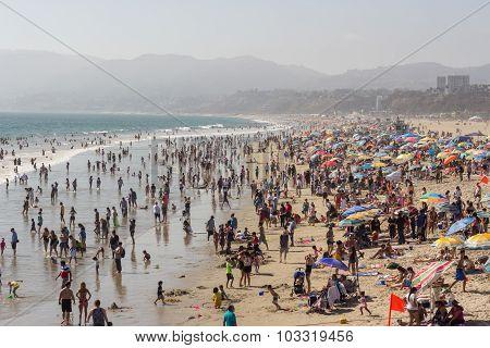 SANTA MONICA, CALIFORNIA - AUGUST 2, 2015: Santa Monica beach. The beach is located along Pacific Co