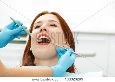 Young girl having a dental checkup