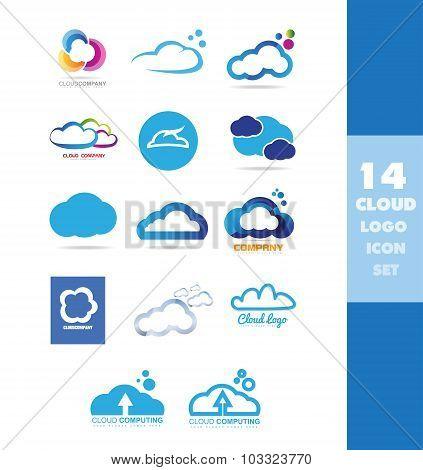 Cloud Data Storage Logo Icon Set
