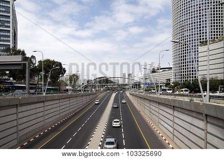 High-speed Multi-lane Road In Tel Aviv