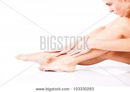 Beautiful smooth and slim female legs after depilation poster