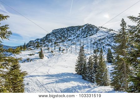 ski lift at the mountain Predigtstuhl Bad Reichenhall in Bavaria southern Germany poster