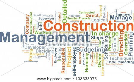Background concept wordcloud illustration of construction management