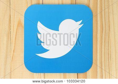 Twitter logotype bird printed on paper