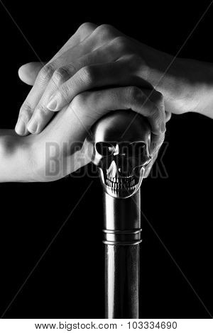 Staff With Skull Holding In Woman Hand Black & White , Witch