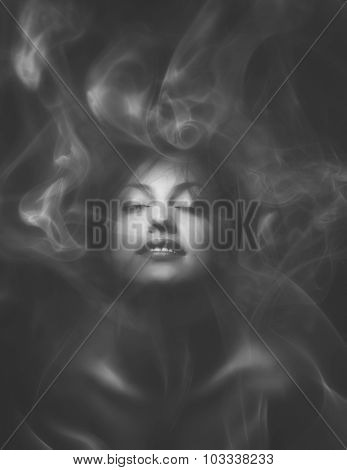 Beautiful Sensual Woman With Closed Eyes Wrapped In Smoke Or Mist
