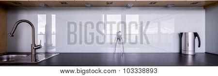 Kitchen Sink And Black Worktop