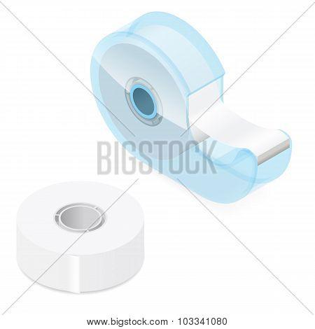 Office Adhesive Tape Isometric Icon Set