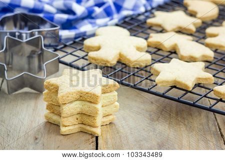 Fresh Baked Homemade Shortbread Cookies On A Cooling Rack
