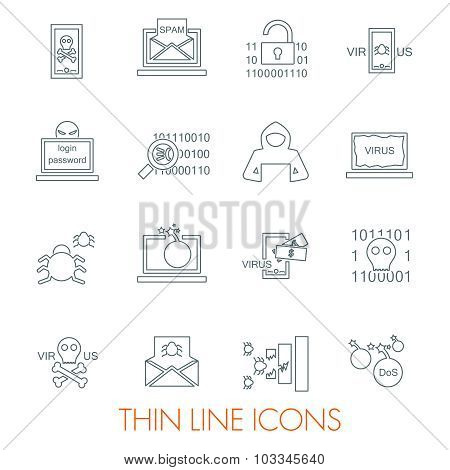 Hacker attack icons