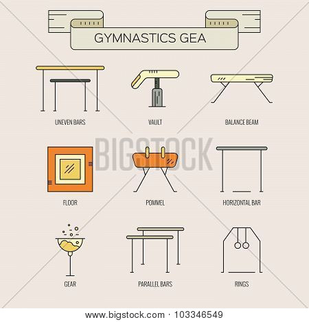 Artistic gymnastics icon collection made in modern linear vector style. Athlete or gymnast icon collection. Unique and modern set isolated on background. . poster