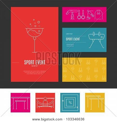 Business identity vector set with different artistic gymnastics elements including pommel balance beam floor. Business card and letterhead. Sports vector. poster