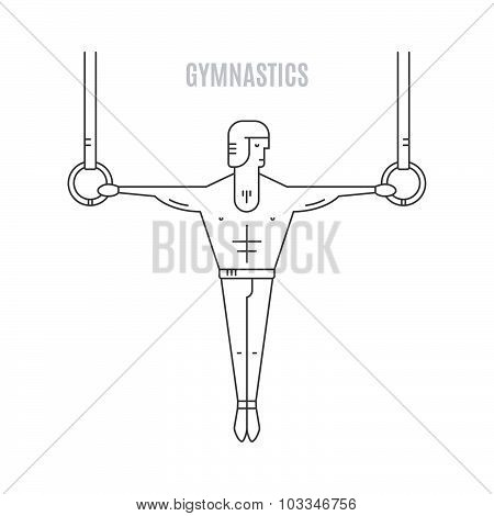 Modern linear style illustration of gymnast hanging on the rings. Artistic gymnastic template. poster