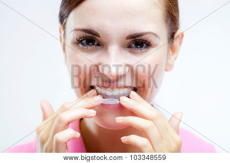 Teeth Whitening, Woman With Tooth Tray