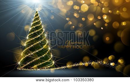 Shining Christmas tree on dark background with bokeh effect.  Vector Illustration