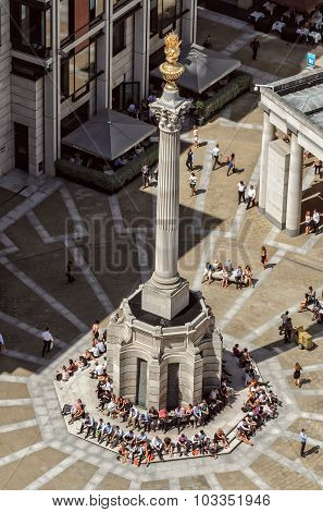 Aerial View Of Paternoster Column And People Surround In London, England