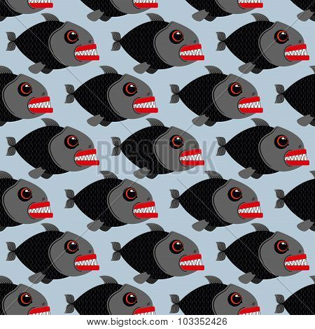 Piranha Seamless Pattern. Many Bloodthirsty Marine Predators. Marine Vector Background. Texture Of E
