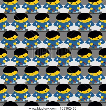 Chinese Production Technology Seamless Pattern. Many Chinese Workers Collect Phones And Tablets. Fac