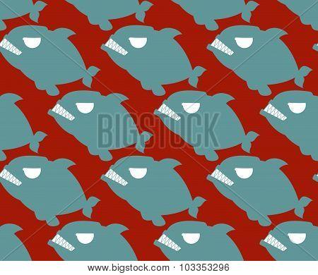 Fish Seamless Pattern. Naval Piranha Predatory Fish Vector Background.
