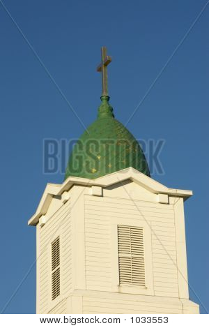 Church Steeple With Green Dome
