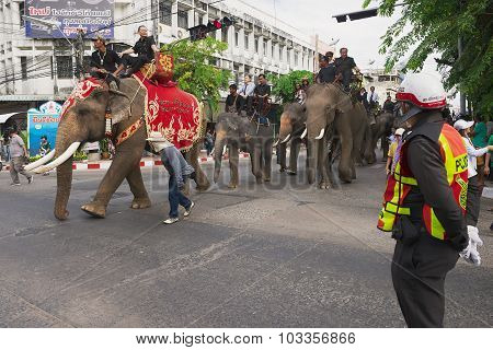 People take part in the famous Elephant parade in Surin, Thailand.