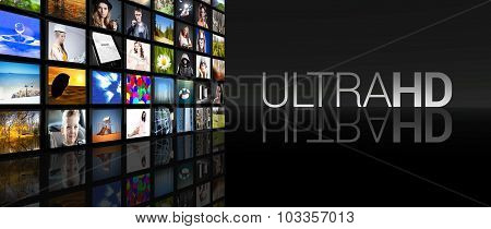 Ultra HD Television screens on black background poster
