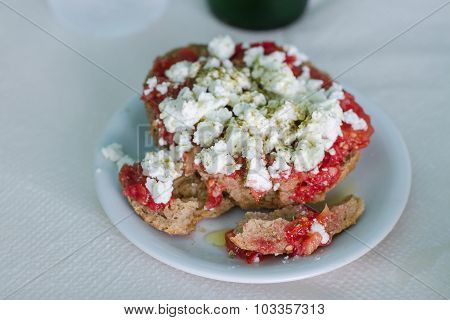 Greek Food Rusk With Tomato And Feta Cheese