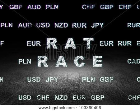 Finance concept: Rat Race in grunge dark room