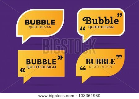 Quote blank template. Quote bubble. Empty template. Quote design, quoting box, text sign reference, paper information template. Quote form. Bubble template vector set. Yellow quote blank icon isolated