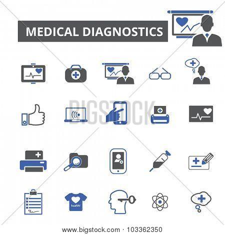 medical diagnostics icons poster