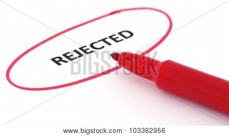 Rejected written in a paper marked with red pen poster