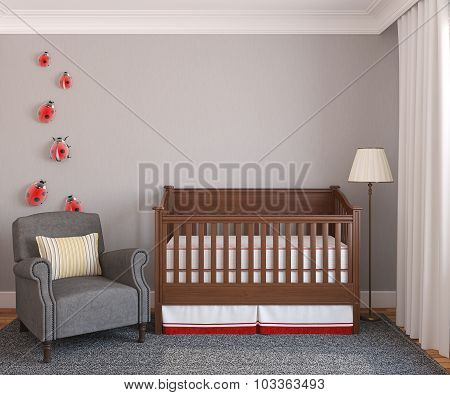 Interior of nursery with crib. Frontal view. 3d render. poster