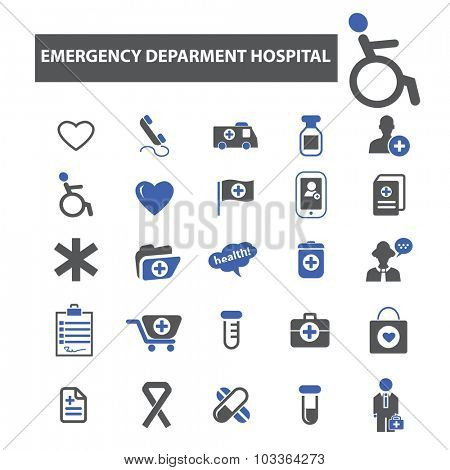 emergency department hospital icons poster