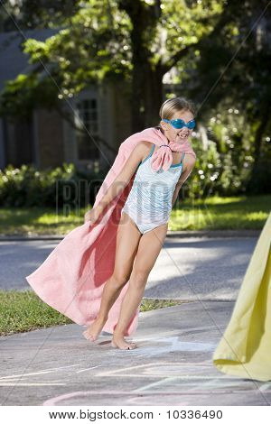 Make-believe, Girl In Homemade Superhero Costume
