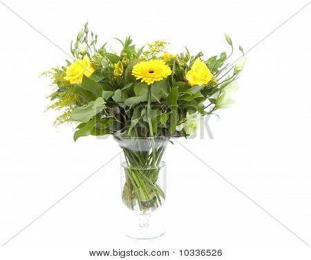 Bouquet Of Yellow Flowers In Vase