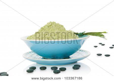 Spirulina chlorella barley and wheatgrass. Green dietary supplement superfood detox. poster