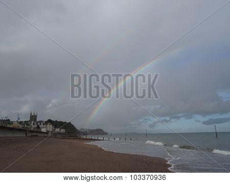 Rainbow Over A Beach Seascape