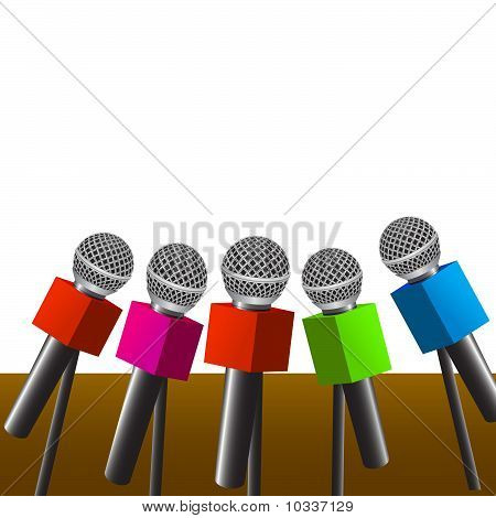 news microphones as tv interview