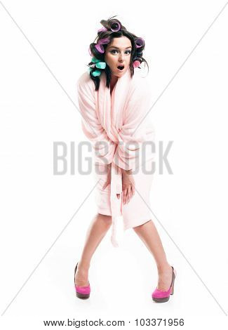 Surprised and screaming woman in bathrobe full length portrait isolated white poster