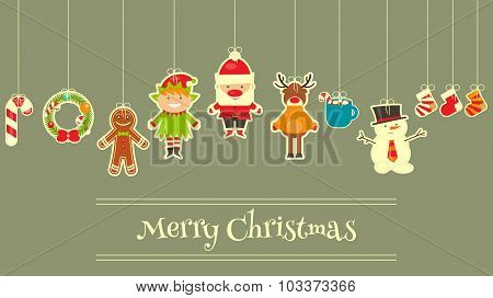 Set Of Cute Christmas Character
